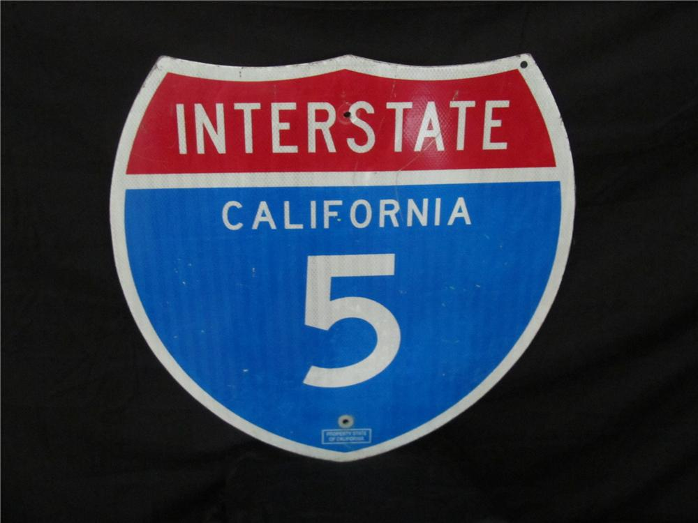 Addendum Item - Vintage California Interstate 5 metal highway road sign. - Front 3/4 - 144333
