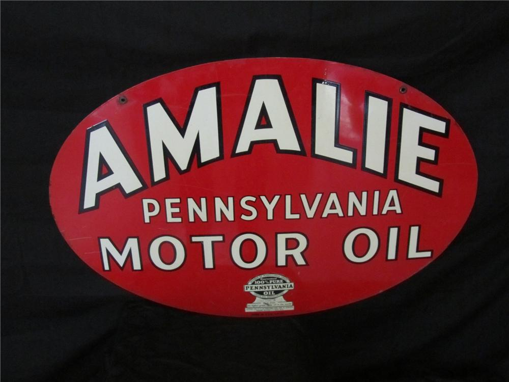 Addendum Item - Very nice 1940s Amalie Motor Oil double-sided tin garage sign.  Found in amazing condition. - Front 3/4 - 144393