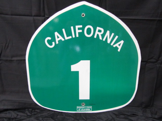 Addendum Item - Highly desirable California Highway 1 Pacific Coast Highway metal sign. - Front 3/4 - 144414