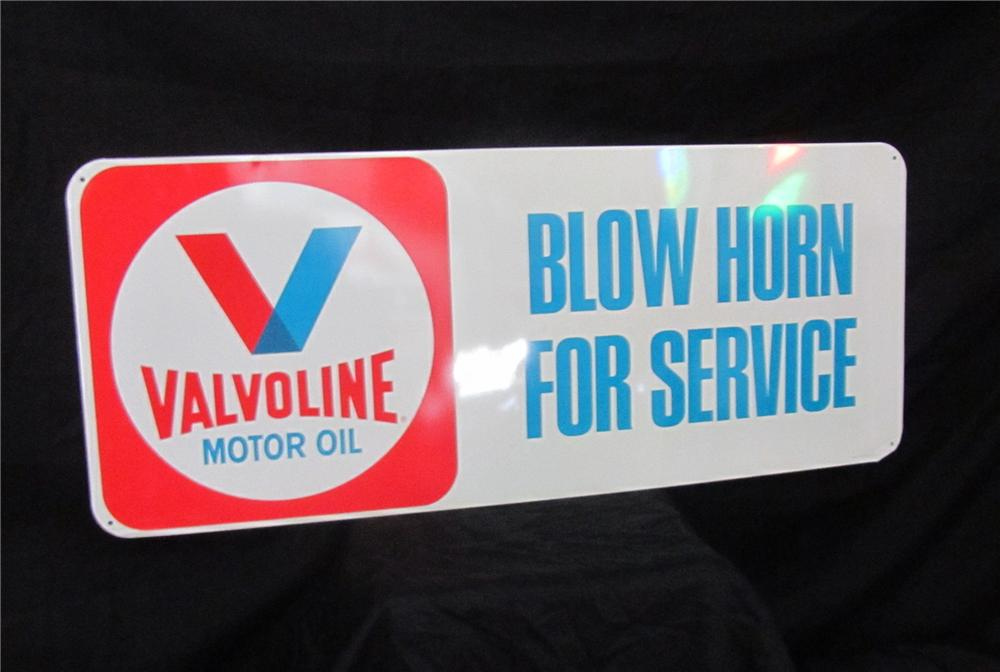 Addendum Item - N.O.S. 1960s Valvoline Blow Horn for Service embossed tin sign.  Condition: 9.5+ - Front 3/4 - 144415