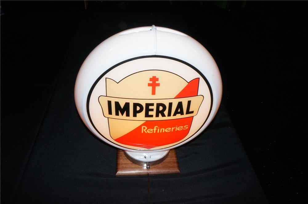 Addendum Item - 1957 Imperial Gasoline gas pump globe presented on a Capcolite body. - Front 3/4 - 145214