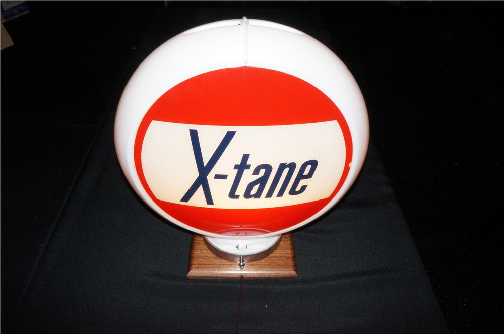 Addendum Item - Unusual N.O.S. 1950s X-Tane Gasoline gas pump globe presented in a Capcolite body. - Front 3/4 - 145215
