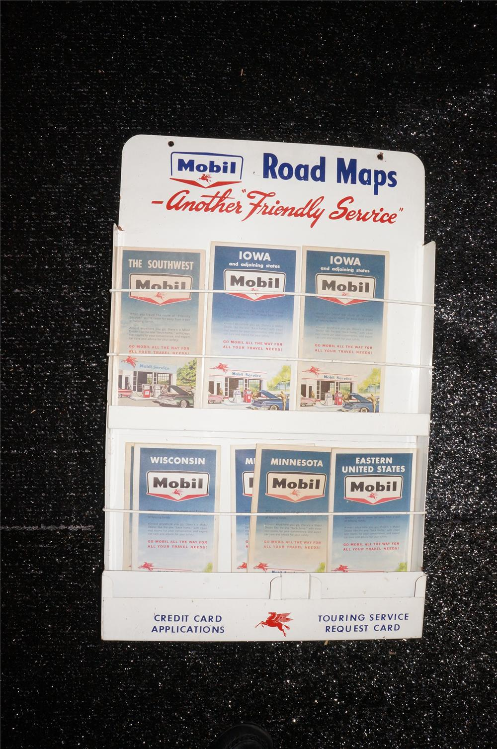 Addendum Item - Sharp late 1950s Mobil Oil service station metal road map display complete with period maps. - Front 3/4 - 145216