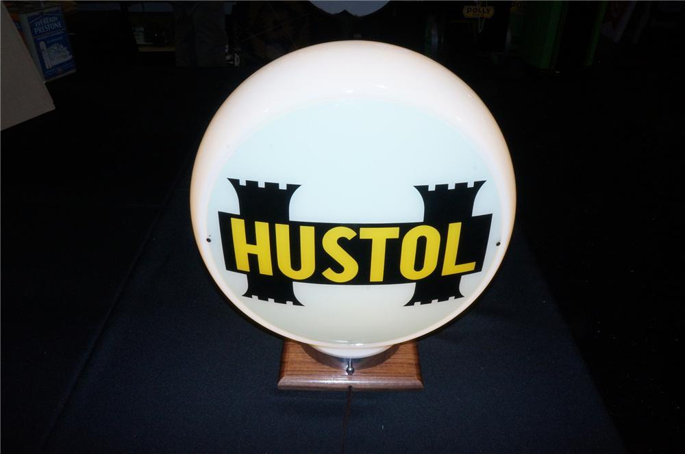 Addendum Item - Impressive 1940s Hustol Gasoline narrow glass bodied gas pump globe with new old stock lenses. - Front 3/4 - 145256
