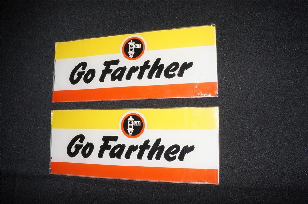 "Addendum Item - Rare original Signal Gasoline ""Go Farther"" gas pump ad glasses. - Front 3/4 - 145257"