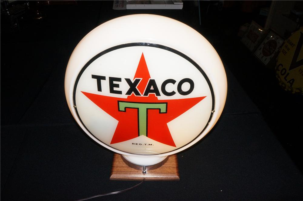 "Addendum Item -N.O.S. 1930s Texaco narrow glass bodied service station gas pump globe with black ""T"" logo. - Front 3/4 - 145260"