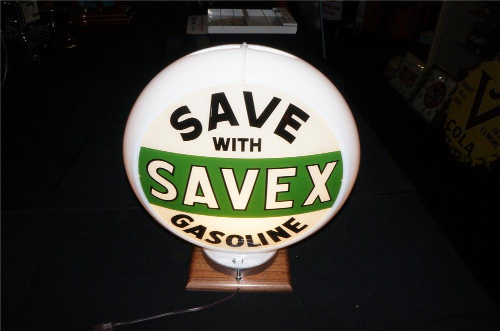Addendum Item - N.O.S. 1947 Save with Save-X Gasoline plastic bodied gas pump globe with N.O.S. glass lenses. - Front 3/4 - 145262