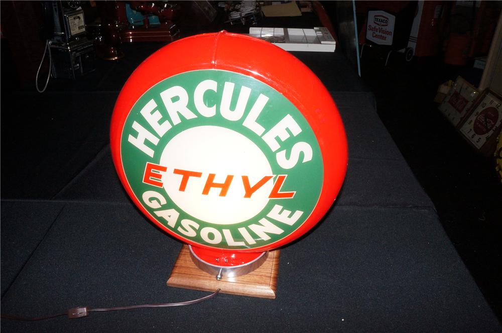 Addendum Item - Circa 1940s-50s Hercules Ethyl Gasoline plastic bodied gas pump globe with N.O.S. glass lenses. - Front 3/4 - 145263