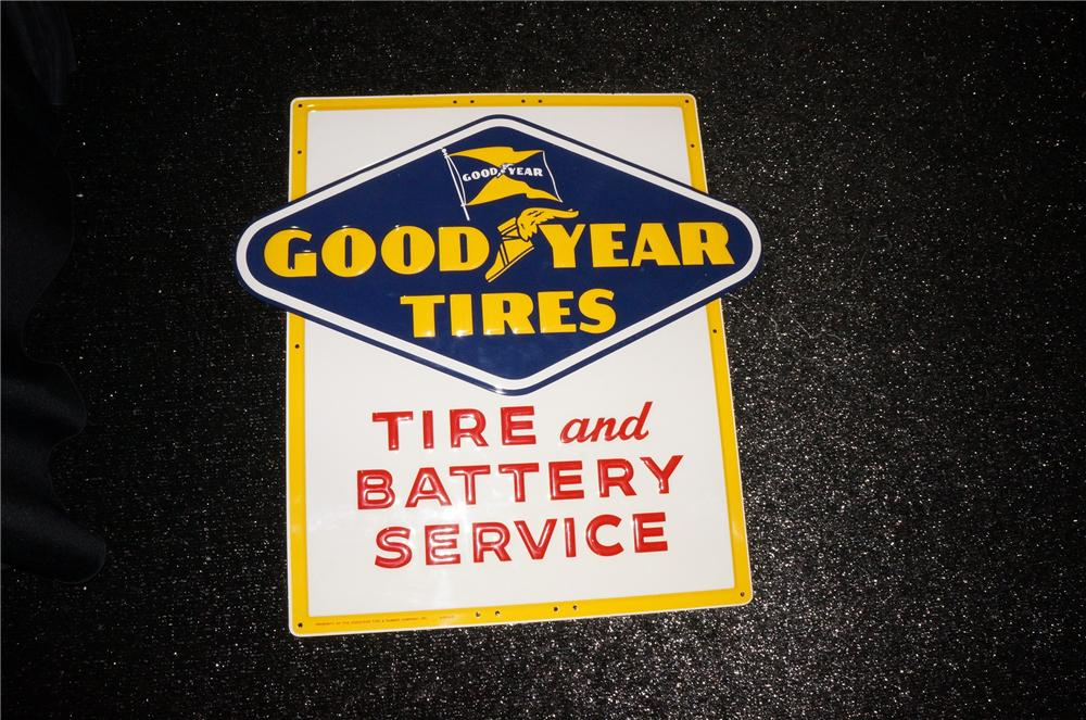 Addendum Item - Superlative N.O.S. 1954 Goodyear Tires embossed tin sign. - Front 3/4 - 145272