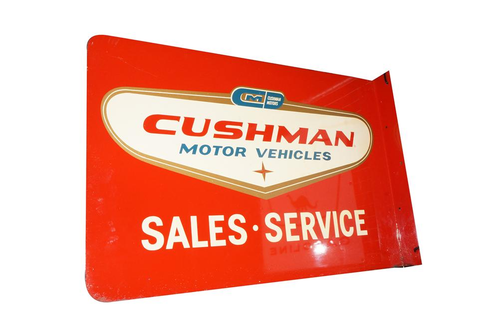 Addendum Item - Highly desirable 1950s Cushman Motor Vehicles tin painted flange sign. - Front 3/4 - 145299