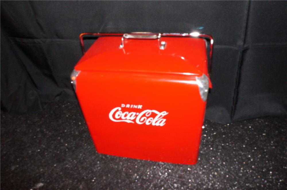 Addendum Item - Sharp 1950s Coca-Cola restored picnic hand cooler. - Front 3/4 - 145308