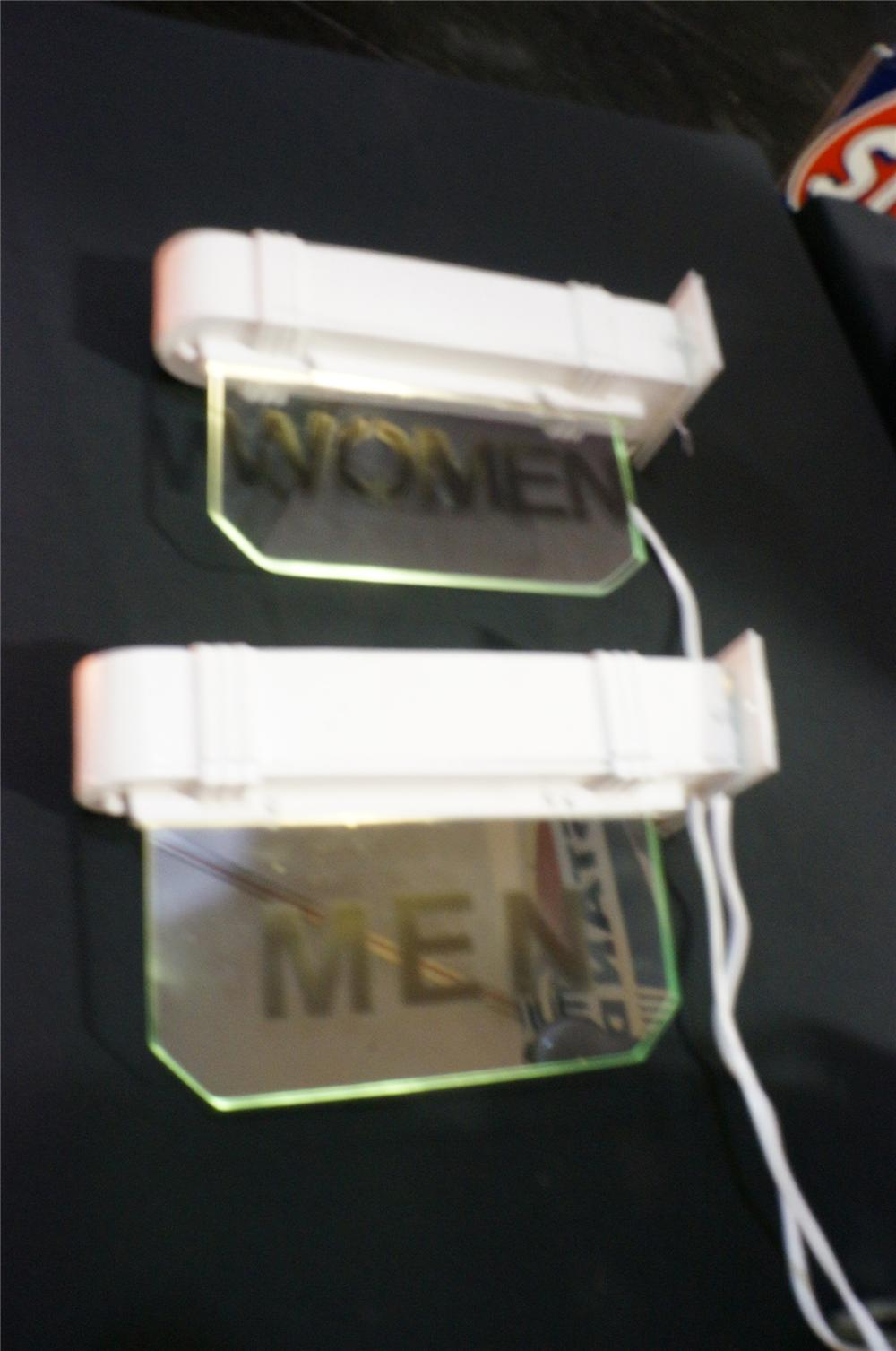 Addendum Item - Unusual set of 1930s restored Mens-Ladies lit glass restroom signs. - Front 3/4 - 145309