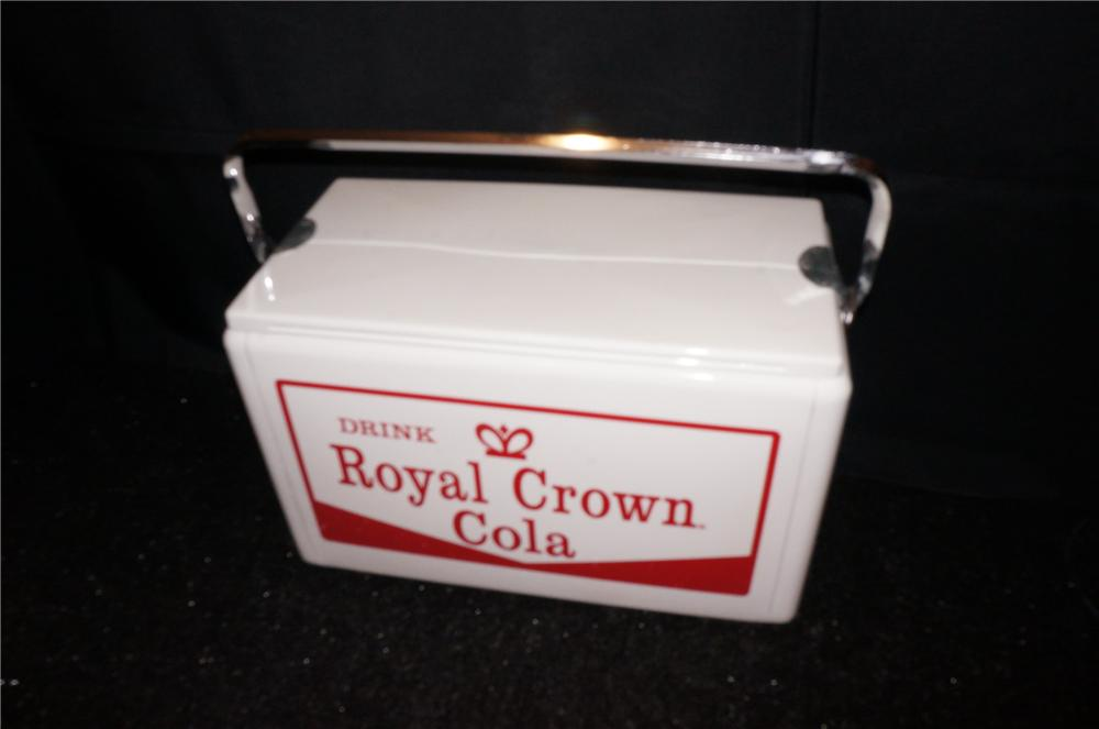 Addendum Item - Nicely restored 1950s Royal Crown Cola picnic hand cooler. - Front 3/4 - 145414