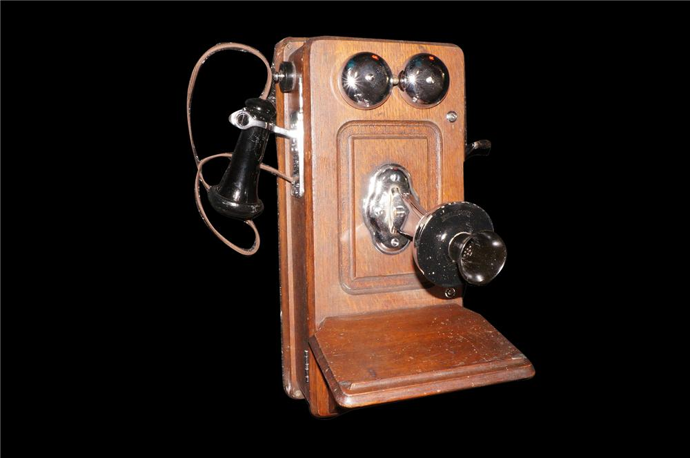 Addendum Item - Early restored wooden telephone by Falcon.  Nicely restored with lots of chrome. - Front 3/4 - 145434