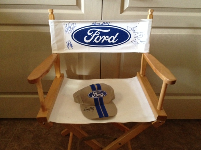 Ford racing greats autographed directors chair and hat from AirVenture 2011.  Signed by the late and great Carroll Shelby al... - Front 3/4 - 145453