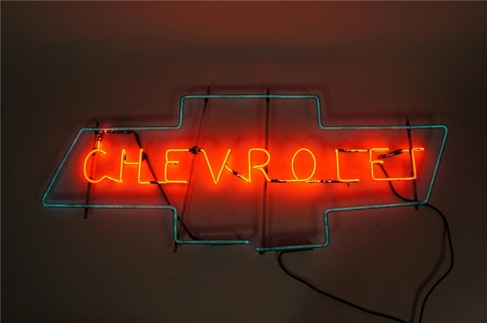 Choice 1930s-40s Chevrolet Automobiles dealership showroom neon sign.  Lights perfectly! - Front 3/4 - 148093