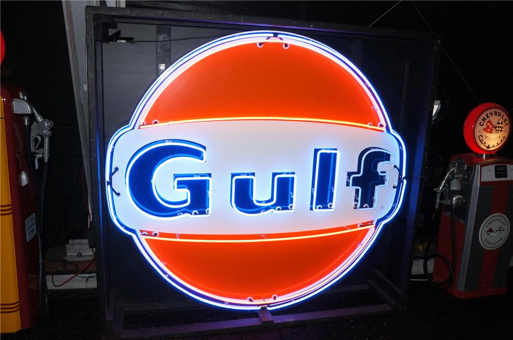 Spectacular 6 tall 1950s Gulf Oil single-sided porcelain neon sign with animated neon. - Front 3/4 - 150653