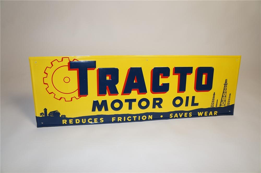 Choice N.O.S. 1940s-40s Tracto Motor Oil single-sided embossed tin garage sign with desirable graphics. - Front 3/4 - 151565