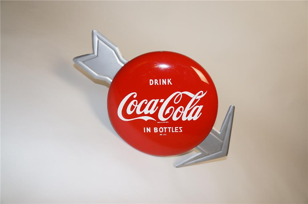 """Superlative N.O.S. Coca-Cola soda fountain 12"""" button/arrow sign.  Highly desirable and found in pristine condition. - Front 3/4 - 151567"""