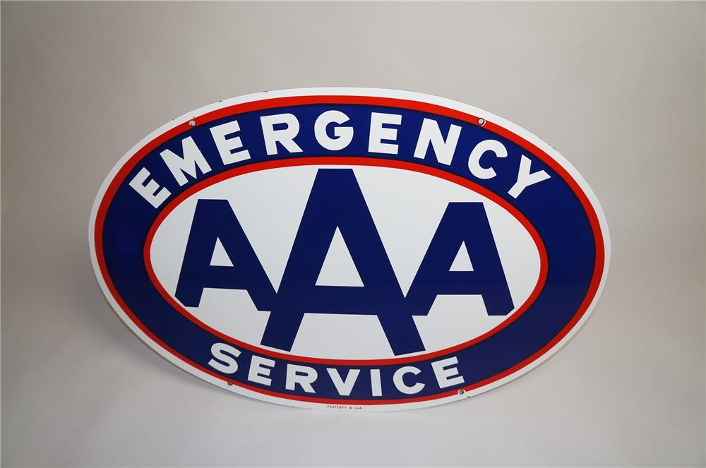 Near perfect 1950s AAA (Triple A) Emergency Service double-sided porcelain automotive garage. - Front 3/4 - 151569