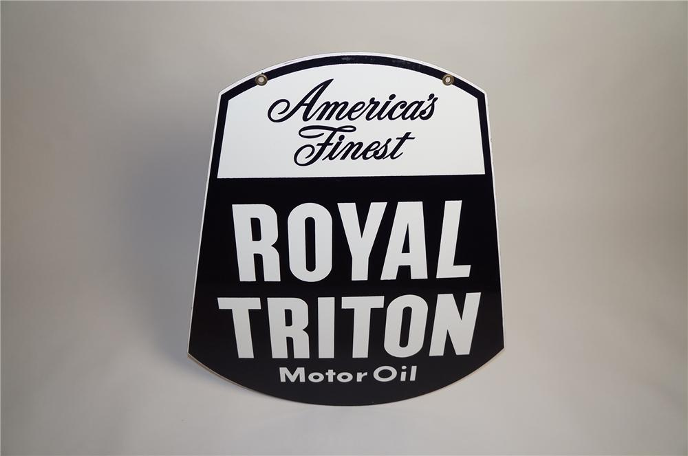 Phenomenal 1950s Union 76 Royal Triton Motor Oil double-sided porcelain service station sign. - Front 3/4 - 151570