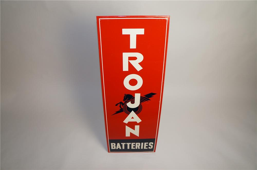 Very sharp Trojan Batteries single-sided vertical tin garage sign.  Hard sign to find! - Front 3/4 - 151573
