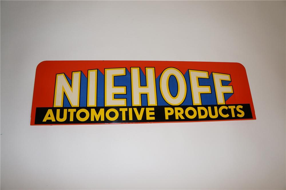 Colorful 1950s Niehoff Automotive Products single-sided tin garage sign. - Front 3/4 - 151574
