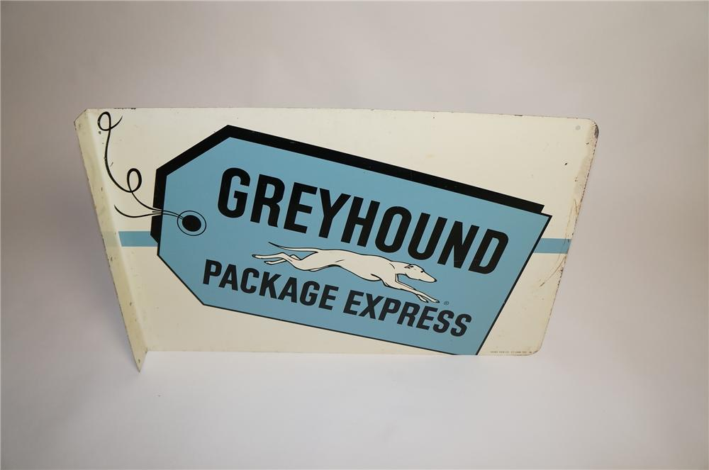 Highly desirable 1961 Greyhound Package Express double-sided tin bus depot sign with greyhound graphic. - Front 3/4 - 151575