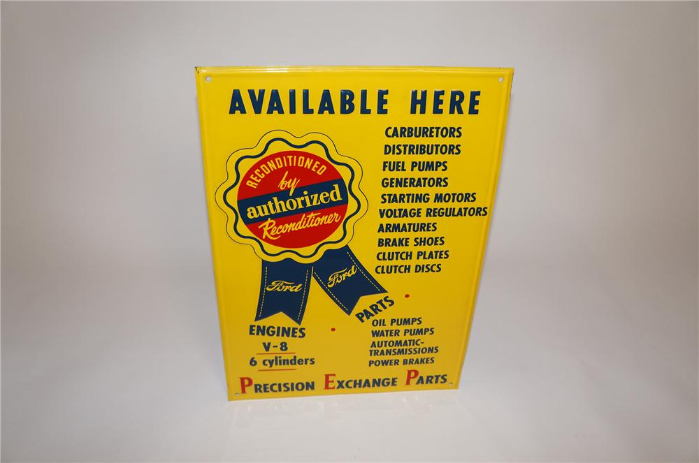 Rare N.O.S. Ford Reconditioned Parts service department embossed tin sign. - Front 3/4 - 151595