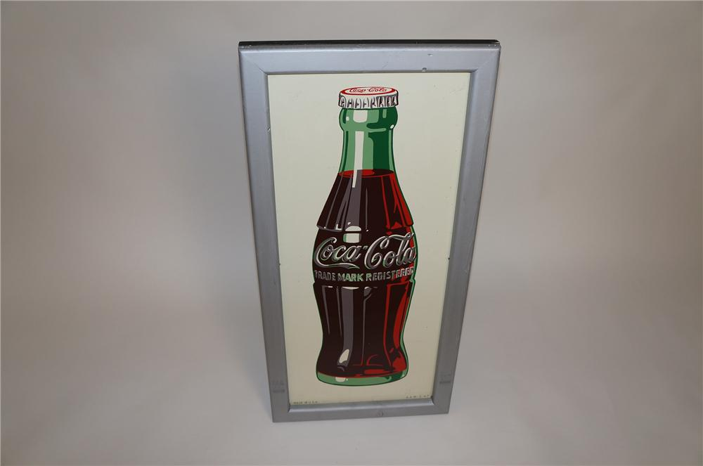 N.O.S. 1947 Coca-Cola wood framed tin bottle sign.  Hard to find especially in this condition. - Front 3/4 - 151596