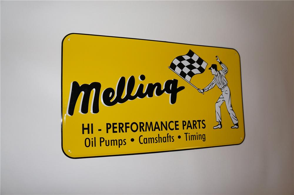 Newer Melling Hi-Performance Automotive Parts embossed tin sign. - Front 3/4 - 151599