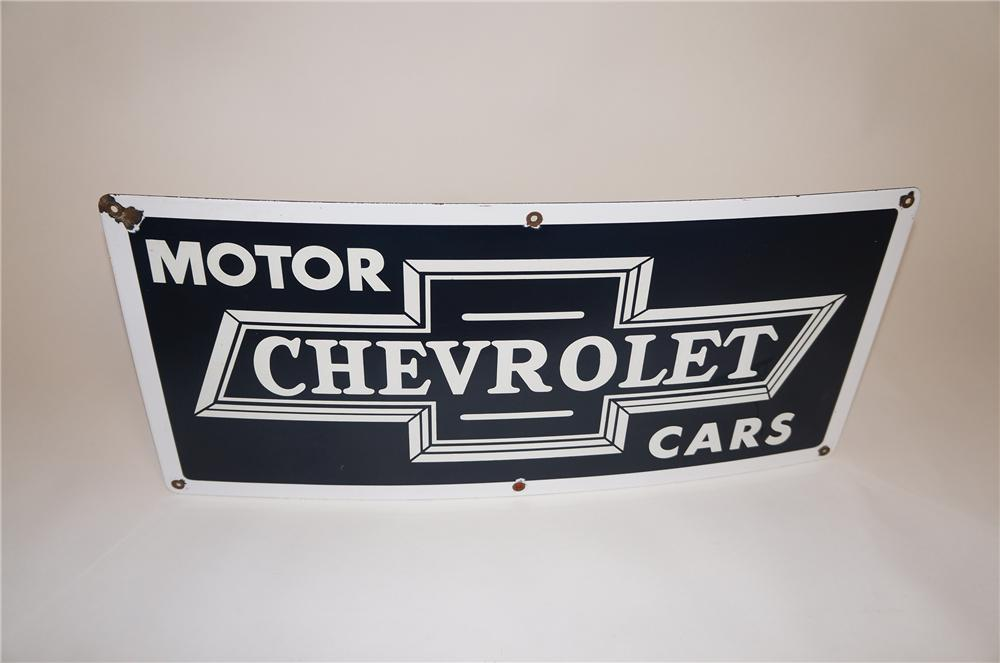 Rare 1940s Chevrolet Motor Cars single-sided porcelain dealership sign with bow-tie logo. - Front 3/4 - 151601