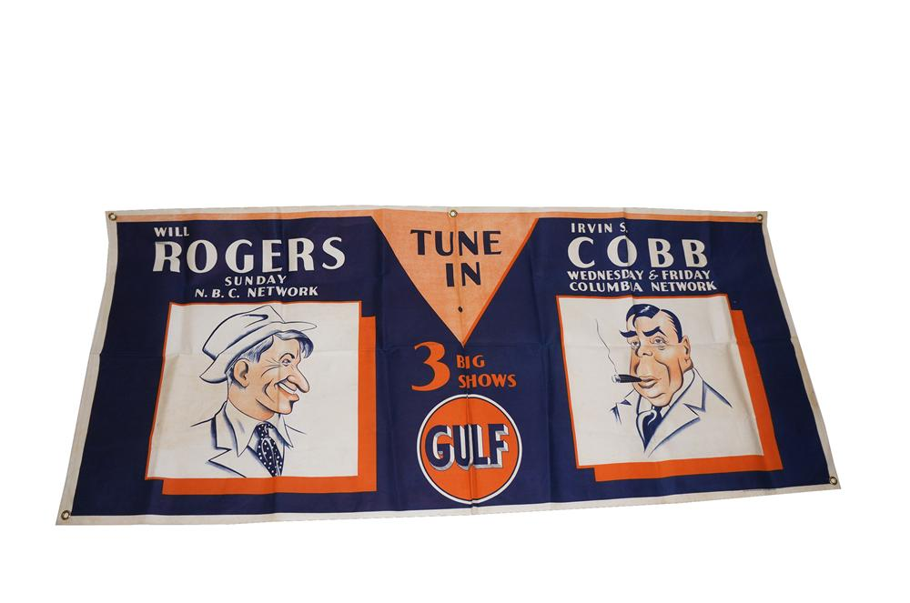 N.O.S. 1930s Gulf Oil canvas station banner promoting Will Rogers and Irvin S. Cobb radio shows. - Front 3/4 - 151603