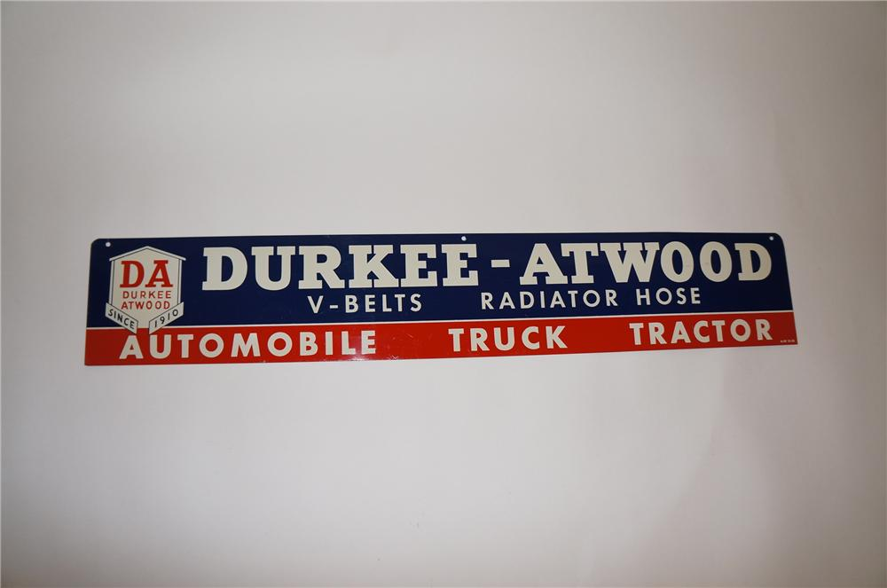 N.O.S. 1959 Durkee-Atwood Automotive Radiator Hose and V-Belts tin garage sign. Very clean! - Front 3/4 - 151604