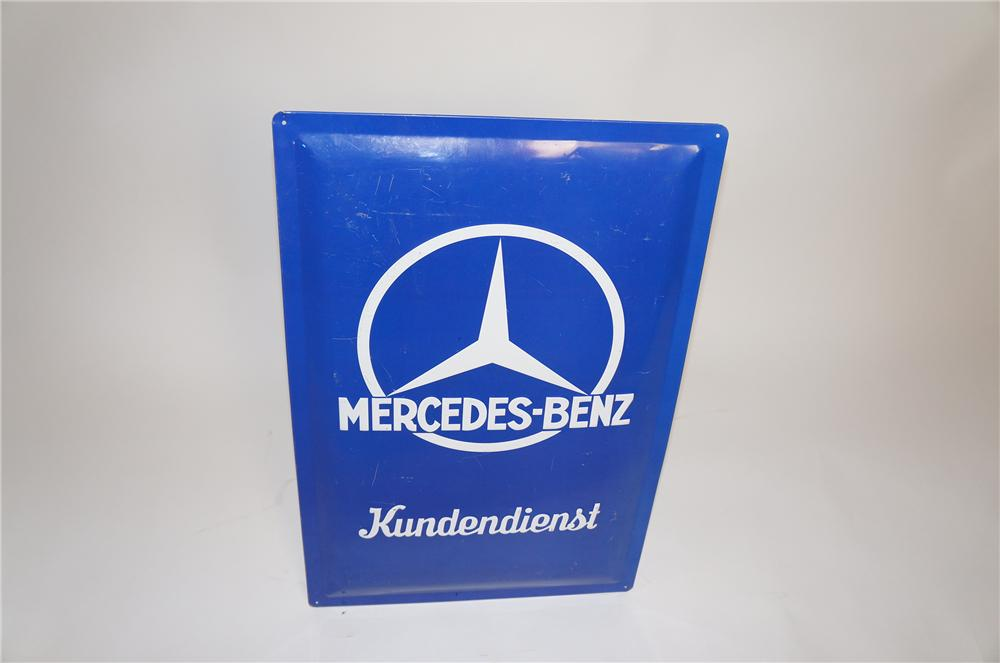 1940s Mercedes-Benz Kundendienst (service department) single-sided embossed tin automotive garage sign. - Front 3/4 - 151614