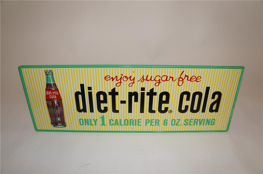 N.O.S. late 1950s Diet-Rite Cola horizontal tin sign with bottle graphic.  Nice colors and condition. - Front 3/4 - 151615