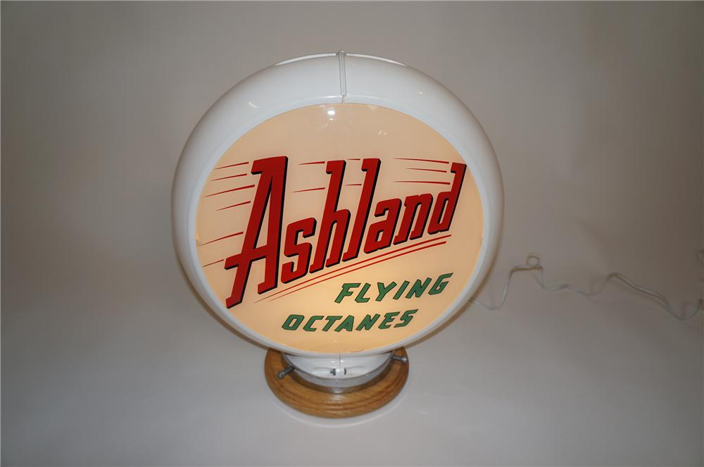 Choice late 1950s Ashland Flying Octanes gas pump globe in Capcolite body. - Front 3/4 - 151617