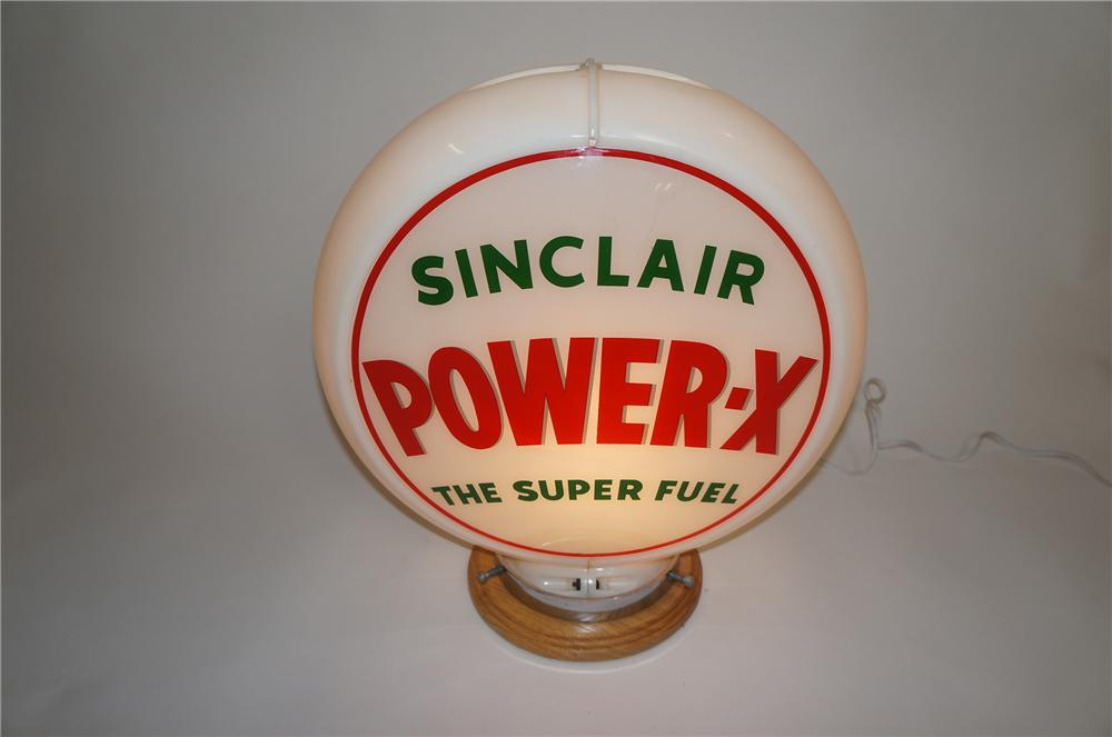 "Choice 1950s Sinclair Power-X ""The Super Fuel"" gas pump globe in Capcolite body. - Front 3/4 - 151624"
