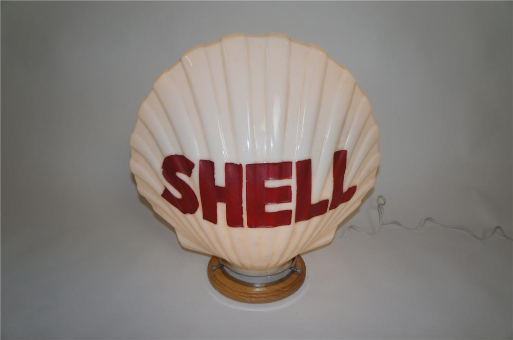 Impressive 1930s Shell Oil one-piece milk glass gas pump globe.  Worthy of bragging rights. - Front 3/4 - 151625