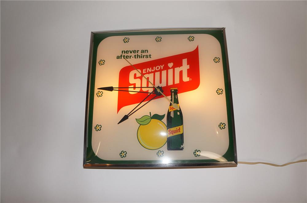 Awesome 1960s Enjoy Squirt glass faced light-up diner/service station clock. - Front 3/4 - 151628