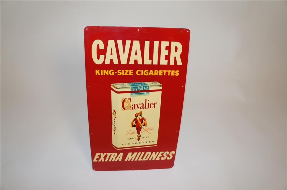 N.O.S. 1950s Cavalier King-Size Cigarettes single-sided tin sign. - Front 3/4 - 151629