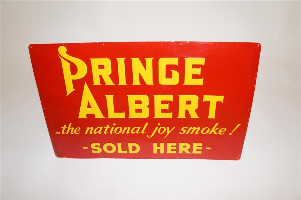 1950s Prince Albert Sold Here embossed tin general store sign.  Seldom seen version. - Front 3/4 - 151631