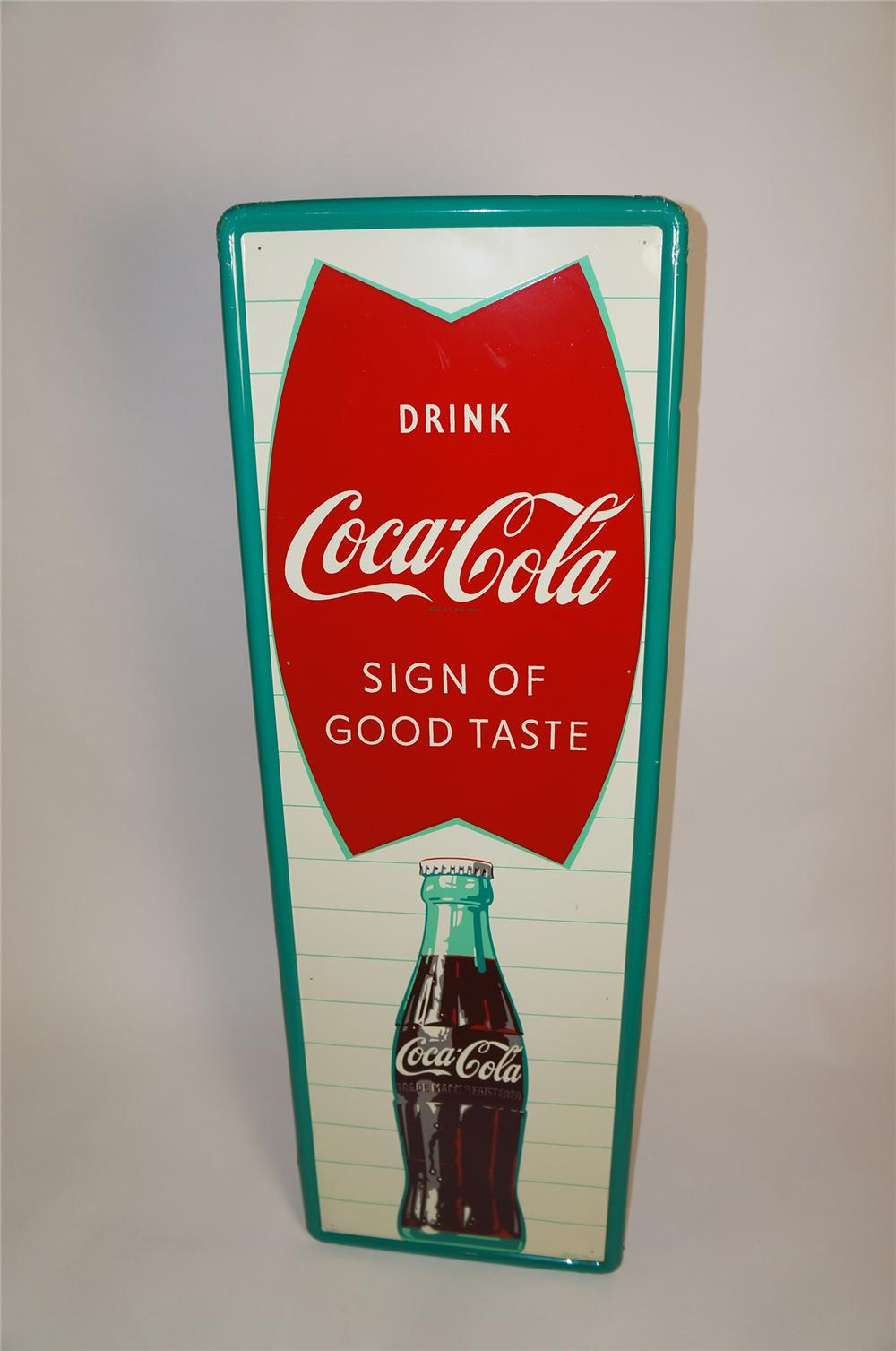 Good looking N.O.S. Drink Coca-Cola Sign of Good Taste self-framed vertical tin sign - Front 3/4 - 151634