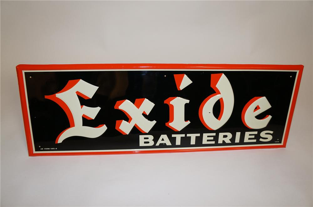 N.O.S. 1962 Exide Batteries horizontal embossed tin garage sign with nice colors. - Front 3/4 - 151635