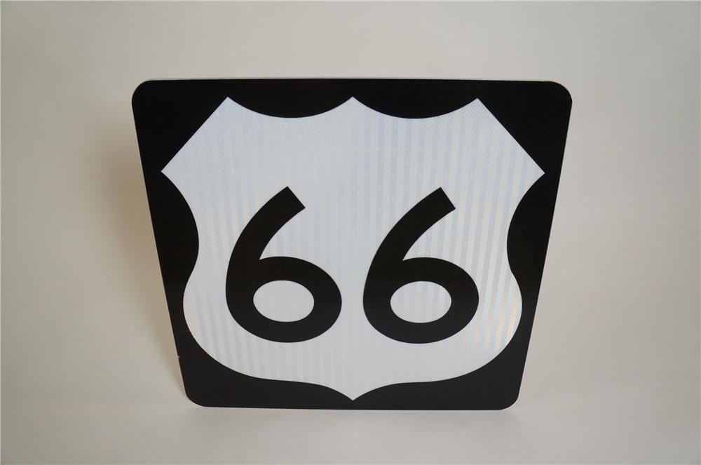 Museum quality N.O.S. Route 66 Highway Road sign found in Flagstaff Arizona. - Front 3/4 - 151636