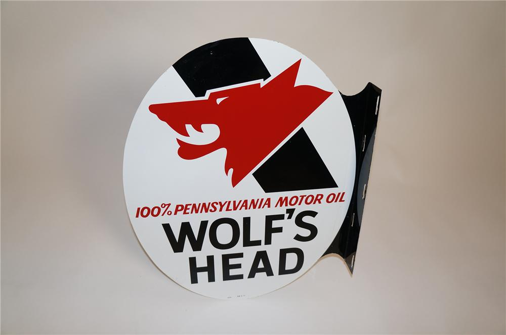 N.O.S. vintage Wolfs Head Motor Oil double-sided tin painted garage flange sign with killer logo. - Front 3/4 - 151637