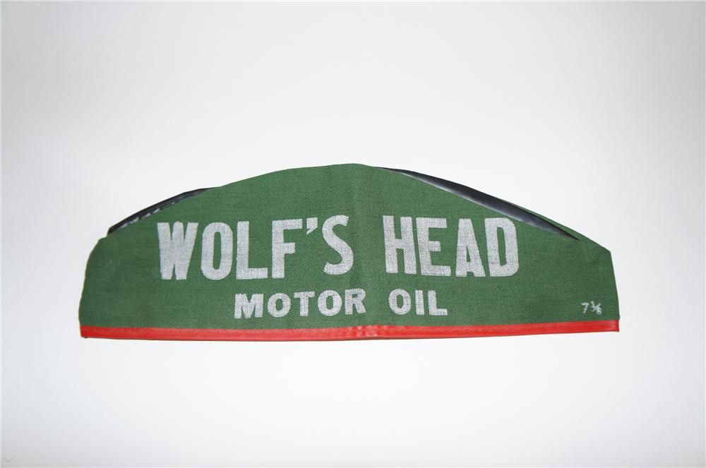 N.O.S. 1940s Wolfs Head Motor Oil service station mechanics hat. - Front 3/4 - 151639