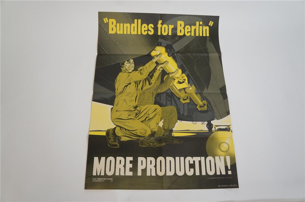 "Fabulous N.O.S. 1942 Bundles for Berlin ""More Production"" World War II war effort poster found unused. - Front 3/4 - 151644"