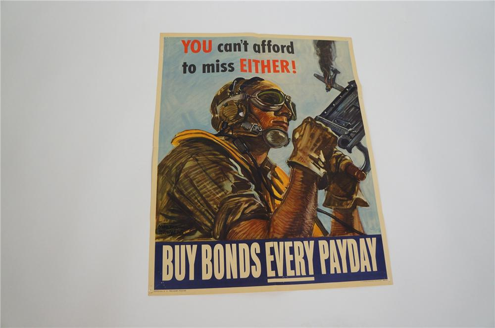 "Rare 1944 ""You cant afford to miss either"" World War II War Bonds poster.  Nice colors and graphics. - Front 3/4 - 151645"
