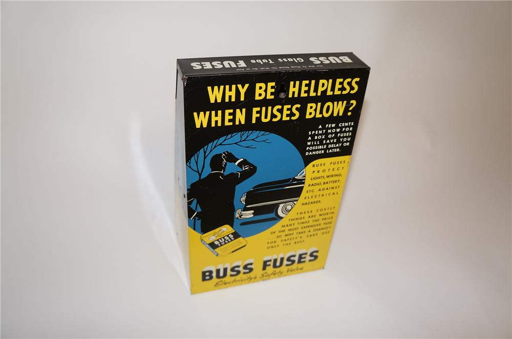 1950s Buss Automotive Fuses service garage counter-top metal display box with nice graphics. - Front 3/4 - 151648